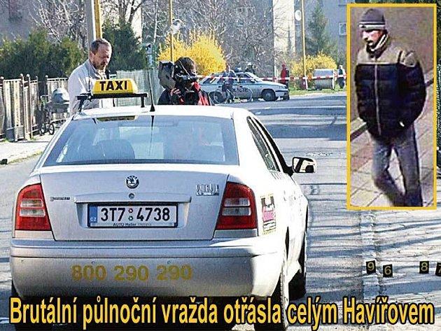 V tomto autě byl taxikář ubodán. Ve výřezu: Podezřelý muž, který má podle policistů s vraždou určitě něco společného.