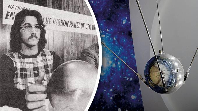Terry Betz ukazuje podivnou kouli. Byl to pozůstatek družice?
