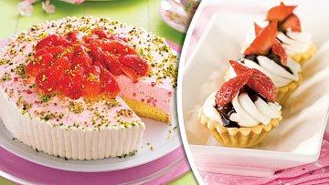 Jahodový dortík a linecké košíčky