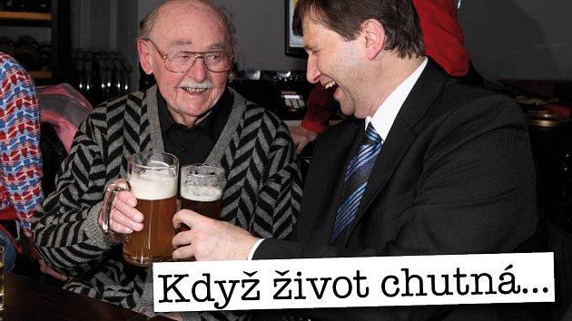 Lubomír Lipský si připil na zdraví s Janem Hrušínským