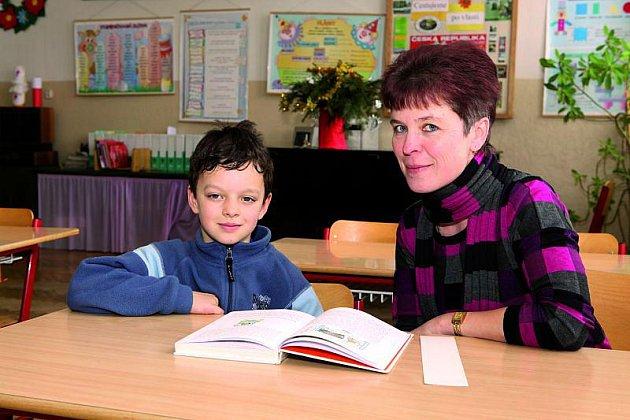 Se svou paní učitelkou Jitkou Joskovou.