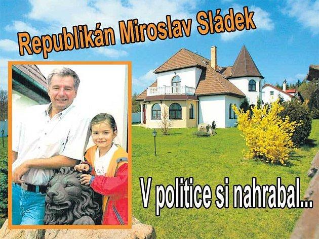 Luxusní Sládkova vila v milionářské čtvrti Brno - Útěchov. Republikán ji napsal na svou manželku. Ze zlobivého politika Sládka se stal vzorný otec. Se svou starší dcerou před vilou v Brně - Útěchově.