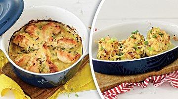 Kuřecí prsa vhořčičné omáčce a pečená brambora se zakysanou smetanou