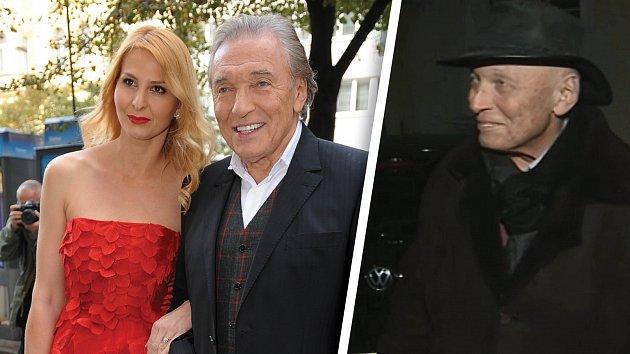 Karel Gott s manželkou Ivanou v roce 2014. Vpravo zpěvák po chemoterapii.