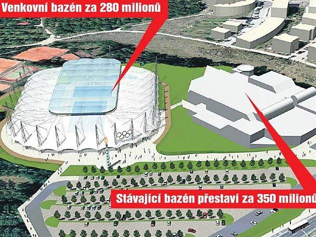 Stávající bazén přestaví za 350 milionů, venkovní bazén za 280 milionů