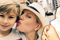 Karolína Kurková se synem Tobinem