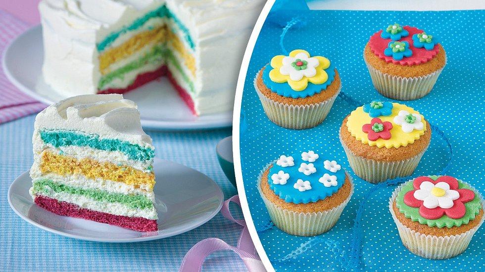 Duhový dortík a fondánové kytičky