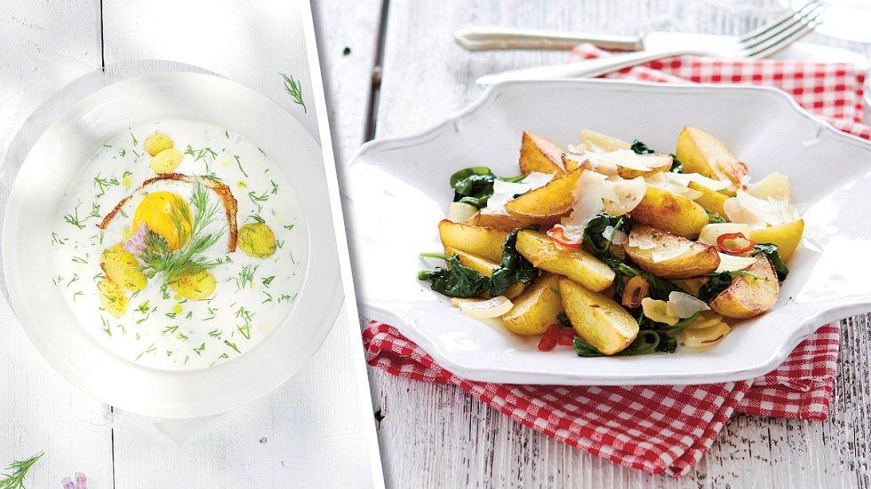 Mléčná polévka a brambory na pánvi