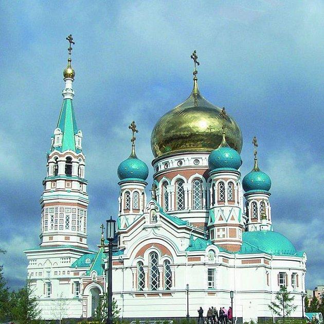 Krásná Katedrála nanebevzetí panny Marie je chloubou Omsku.