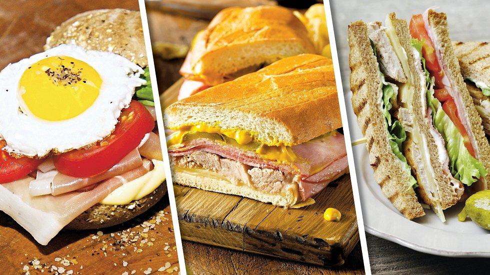 Sendvič svolským okem, pikantní svepřovým a club sendvič