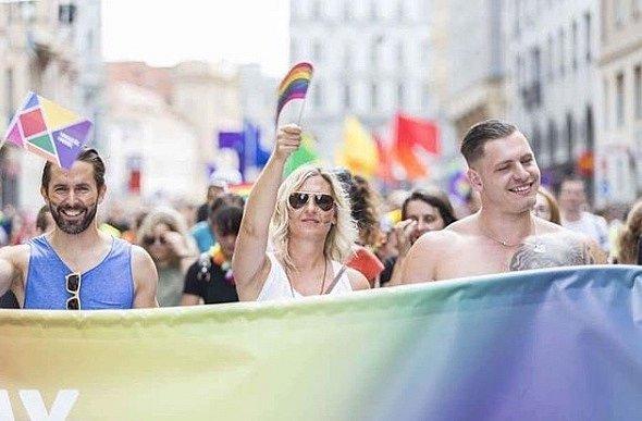 Daniel Bambas se zúčastnil pochodu Prague Pride.