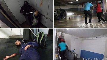 Hrůzyplná scéna se odehrála v podzemním parkovišti v Los Angeles.