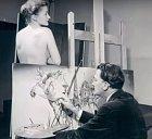 Dalí při malbě Pokušení sv. Antonína.