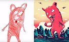 Démon z pekla nakreslený dítětem.