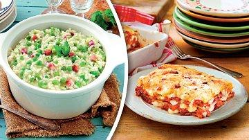 Sýrová rýže shráškem a zapékané lasagne