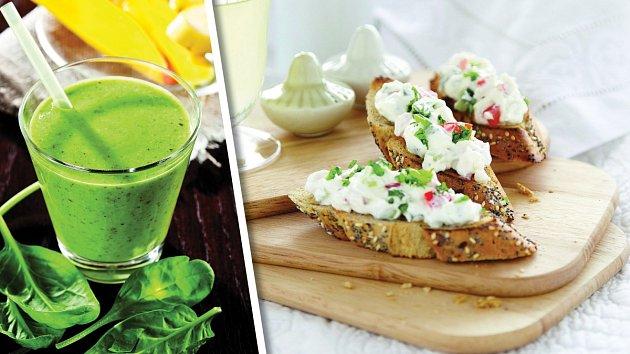 Špenátové smoothie a cottage srajčaty