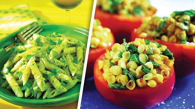 Penne sfazolovým pyré a plněná rajčata