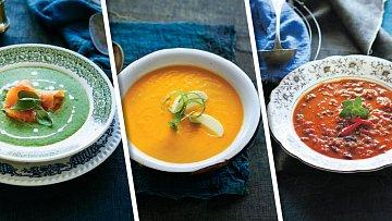 Špenátová polévka slososem, mrkvová scitrusy a pikantní sčokoládou