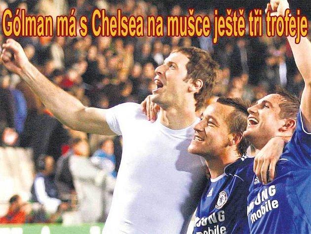 Čech, Terry a Lampard  tři králové se radují z postupu.