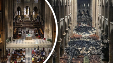 Katedrála Notre-Dame před a po požáru