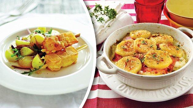 Sýrové špízy a gratinované brambory