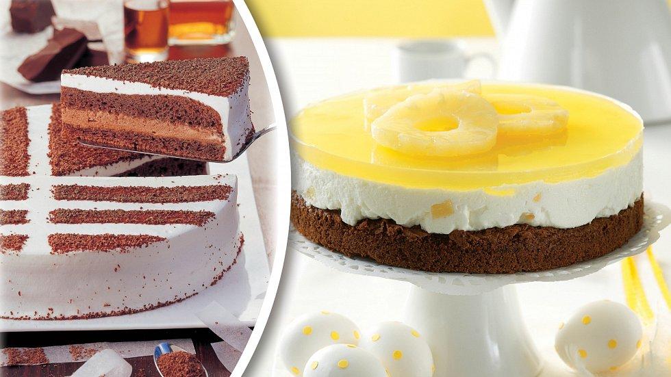 Šlechtický krémový dort a jarní ananasový
