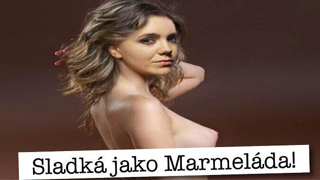 Fotomontáž zpěvačky a herečky Lucie Vondráčkové