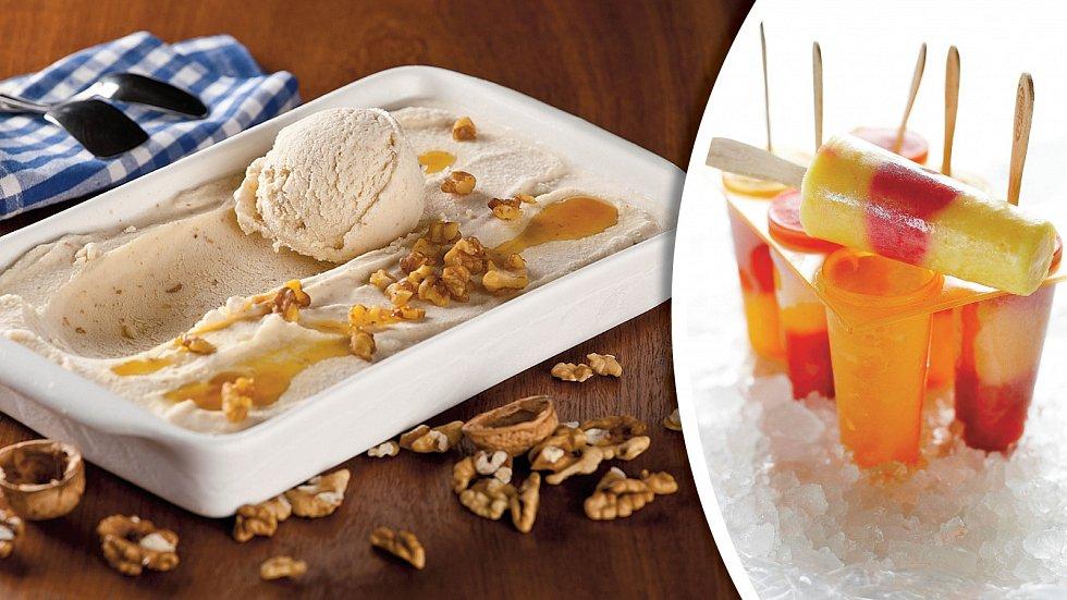 Domácí karamelová zmrzlina a ovocná dřeň