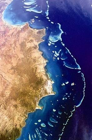 Takhle vyfotila Velký bariérový útes NASA.