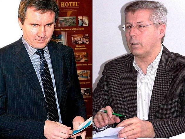 Jiří Kubíček (vlevo) se k vyhrožování nehlásí. Luděk Macela je z Kubíčkova ataku v šoku.