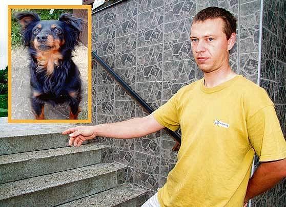 Jan Mynář ukazuje schody u rodinného domku, kde umlátil opilý soused jejich psa. Hladkosrstého pinče Ramona (ve výřezu) měli Mynářovi šest let.