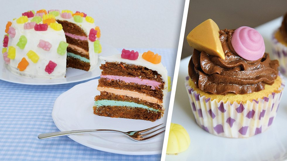 Mrkvový dort a vanilkové cupcakes skrémem
