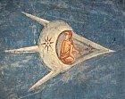 Kde se vzal podivný letící objekt  namalbě ze 14. století?  Vprotějším rohu je navíc další.