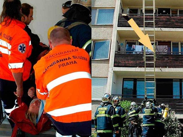 Záchranáři odvezli ženu do nemocnice. Žena padala z balkonu ve druhém patře, v prvním patře ji zachytila její sousedka.