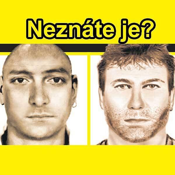 Takto vypadali muži, kteří znásilnili dívku v Budějovicích a děvčátko v Praze. Jejich podoba je nápadná. Stejně může vypadat muž, kterému se ubránila dívka v Písku. Policie uvítá další informace na čísle 158.