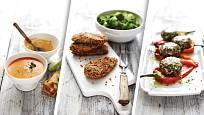 Polévka zrajčat, oříškové řízečky a papriky sbrynzou