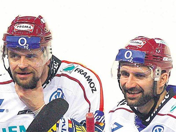 Sparťanského vousáče zastupují Jiří Zelenka (vlevo) a Luboš Rob.