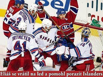 Vyhnali Lundqvista. Rus Kovaljov oslavuje svůj druhý gól proti Rangers. V tu chvíli už chytal náhradník Valiquette.