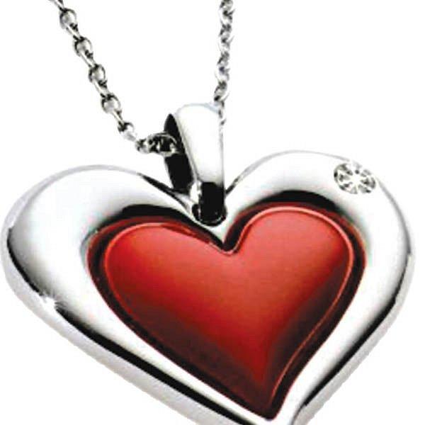 Přívěsek: Morellato Love – srdce s červeným dekorem a diamantem – chirurgická ocel, cena 2 390 Kč, www.darek.cz