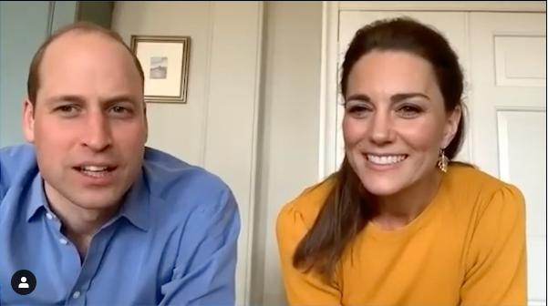 Vévodkyně Kate a Princ William při online rozhovoru.
