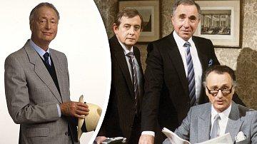 Ústřední trojice seriálu Jistě, pane ministře. Zleva: Derek Fowlds, Nigel Hawthorne aPaul.