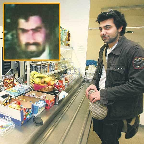 Reportér Šípu vstoupil do obchodu s potravinami a předstíral, že přemýšlí, co si koupit. Ve výřezu: Italský zloděj-hypnotizér.
