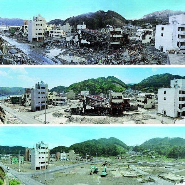 Onagawa. Město de facto přestalo existovat. Po úderu tsunami vypadalo jako po válečném náletu. Z většiny budov zbyly jen trosky. Nyní bagry už jen čistí poslední zbytky poničených staveb. Na svém místě jich zůstalo jen pár.