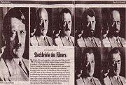Několik novinových montáží z roku 1945, které ukazují, jak by mohl Hitler vypadat, pokud by uniknul ze svého úkrytu a změnil identitu.