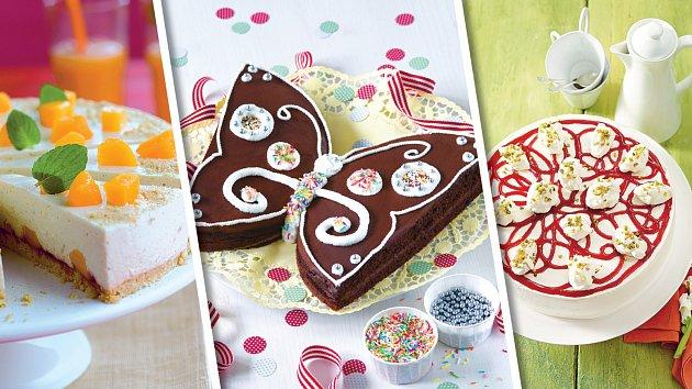 Svěží piškotový dort, pařížský motýlek a ovocný malovaný dort.