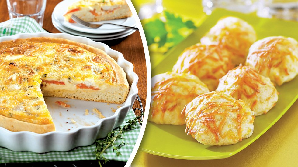 Koláč skozím sýrem a sýrové bochánky