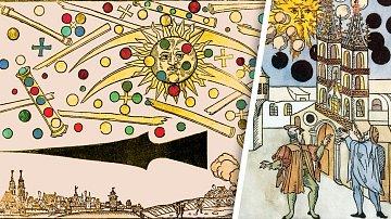 Ilustrace z dřevorytu Hanse Glasera dodnes vzbuzuje řadu otázek. Co lidé viděli na obloze?