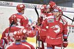 Čtvrtfinále play off hokejové extraligy - 4. zápas: HC Vítkovice Ridera - HC Oceláři Třinec, 25. března 2019 v Ostravě. Na snímku radost Třince.