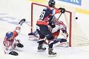 Přípravný hokejový zápas: ČR - Slovensko, 23. srpna 2017 v Třinci. (zleva) Sklenička David, Gernát Martin a Bartošák Patrik.