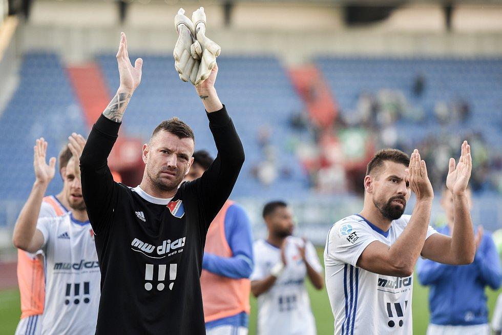 Zápas 24. kola první fotbalové ligy: FC Baník Ostrava vs. Bohemians Praha 1905, 14. dubna 2018 v Ostravě. Laštůvka Jan a Milan Baroš.
